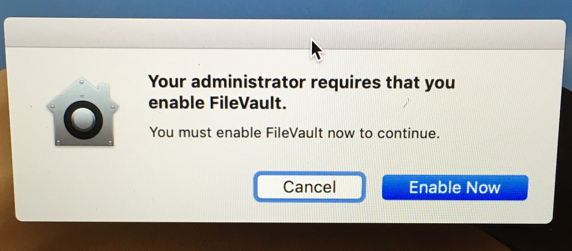 Your administrator requires that you enable FileVault.
