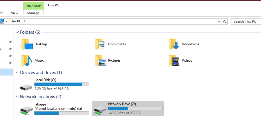 Screenshot: Windows Drive Tools tab showing folders, devices and drives.
