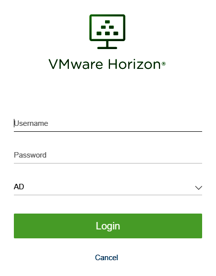 Screenshot: VMware Horizon Login