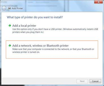 Windows 7 Add a network, wireless or Bluetooth printer