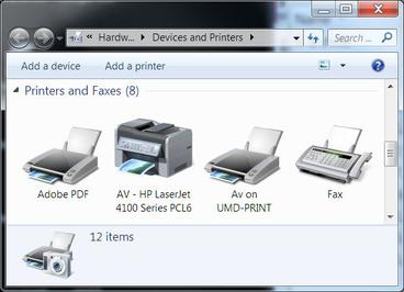 Windows 7 Add a printer