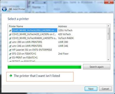Windows 7 Printer isn't listed