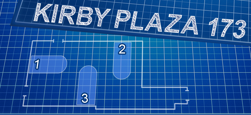 Stylized blueprint: Kirby Plaza 173 with tables 1, 2, and 3.